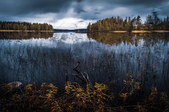 Autumn lake (mabuli90) Tags: finland lake water tree forest autumn fall sky clouds rock nature landscape longexposure