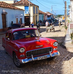 Taxi! (stewardsonjp1) Tags: retro horseandcart cobbles red chrysler car vintage streets latinamerica cuba trinidad taxi