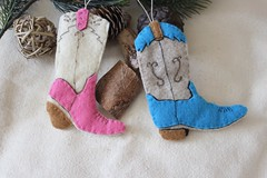 Handmade Cowboy Boot Ornament (TheFriendlyCo.) Tags: etsy friendly eco reclaimed recycled felt decoration handmade embroidered hanging ecofriendly cowboy country boot western horse equestrian ornament holiday christmas gift