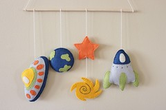 Handmade Space/Nasa Mobile (TheFriendlyCo.) Tags: etsy friendly eco reclaimed recycled felt decoration handmade embroidered hanging ecofriendly space nasa mobile nursery baby planet