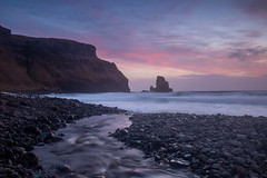 Talisker Bay Sunset, Isle of Skye (Michael Long Landscaper) Tags: scotland highland highlands river stream sea beach britain clouds coastal ocean landscape seascape rocks sky sunset bay cliffs uk sun skye isle isleofskye talisker taliskerbay travel blue stones waves longexposure