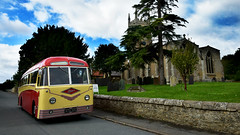 Foden at Rippingale (Travis Pictures) Tags: bus buses bourne delainerunningday delaine transport publictransport lincolnshire lincs southkesteven outdoors outside sunny vehicle nikon d7200 photoshop metalcraft pvrf6 coach singledeck church village rippingale yellow orange red busrally busshow