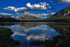 Mt Rundle scene (Robert Grove 2) Tags: mountain lake nature landscape canada alberta banff clouds blue reflection