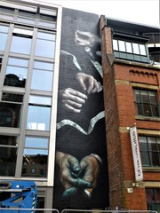 Manchester street art (rossendale2016) Tags: nails blue centimetre inch fashioned old wooden wood bobbin tapemeasure location film camera popular attraction destination holiday tourist quarter northern scaffolding scaffold tall painting photo photogenic large seamstress depiction accurate unbelievable artistic iconic icon vaults centimetres feet inches measuring measure tape cotton intricate pointed hands woman man needle thread threading sewing sew art street manchester