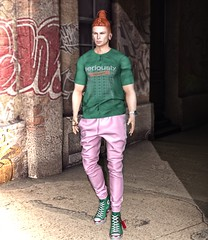 Graffiti Street... (ThiegoFire) Tags: chucksize mossu nomatch bleich male fashion blog sl secondlife outfit art bento catwa redhead ginger red photo photography style handsome backdropcove
