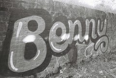 Benny (goodfella2459) Tags: nikonf4 afnikkor24mmf28dlens ilforddelta3200 35mm blackandwhite film analog maltings mittagong factory history benny graffiti bwfp manilovefilm southernhighlands newsouthwales