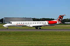 G-SAJI Embraer ERJ.145EP Loganair MAN 02OCT19 (Ken Fielding) Tags: gsaji embraer erj145p loganair aircraft airplane airliner jet jetliner regionaljet aviation commuter