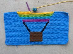 Working on the first crochet balloon panel (crochetbug13) Tags: crochet crocheted crocheting doublecrochetpanel crochetyarnbomb albuquerque internationalballoonfiesta newmexico
