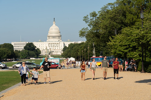 Tourists walking the National Mall