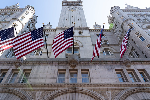US Flags in front of Trump International Hotel - Washington, D.C.
