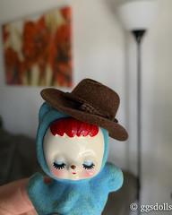 I wanna be a cowboy! (ggsdolls✿2) Tags: mini vacay trip vintage ceramic japan flocked squirrel blue cowboy hat miniature