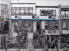 Gatos y blues (catcafe) (http://oba-k3.wixsite.com/davidsalguero) Tags: tinta sketch art arte plumilla nibpen nib ilustración draw drawing dibujo disegno dessin catcafe urbansketch restaurante restaurant rotuladores ink inkwork inkdrawing
