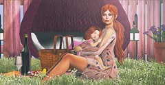 ♚ #776 ♚ (Caity Saint) Tags: decoy dress crystal backdrop picnic pink family kuni groupgift hair redhead catwa bento maitreya sl secondlife pixels dolls kid