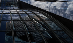 Facade (soniamarmen) Tags: architecture strait lines toronto ontario canada contrasts low light sky clouds reflection