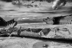 vestige (the ripped bystander) Tags: blackwhite ruins naval base sky