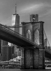 The Brooklyn Bridge (Explored #53) (PeskyMesky) Tags: newyork thebrooklynbridge city architecture monochrome blackandwhite canon canon5d eos