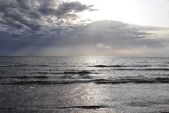 ranarps3 (Vicky Sinclair) Tags: silver sunset rays clouds evening sea sweden waves ripples