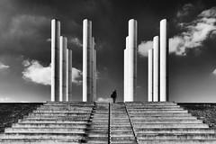 Les 12 colonnes (erichudson78) Tags: france iledefrance cergy axemajeur colonnes columns douze twelve nb noiretblanc blackandwhite bw canoneos6d canonef24105mmf4lisusm silhouette escaliers stairway symmetry symétrie