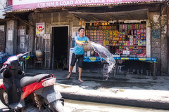 Cleaning the Storefront (Beegee49) Tags: street people man cleaning storefront water bowl sony a6400 happyplanet bacolod city philippines asia