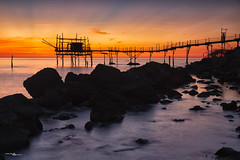 sunrises behind the trabocco (simo tony photography) Tags: sunrise sun summer sea seascape landscape longexposure longexposition abruzzo nature naturephotography wildlife wild light new national park italy clouds water blue