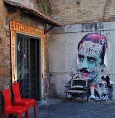 (Uno100) Tags: pizza rome art graffiti red chair pizzeria roma italy
