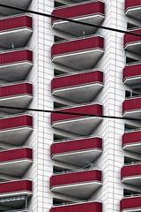 10073-1012 (roberke) Tags: architecture architectuur balkons balcony gebouw building outdoor buiten red rood symmetrie symmetrisch leipzig germany duitsland verdiepen etages