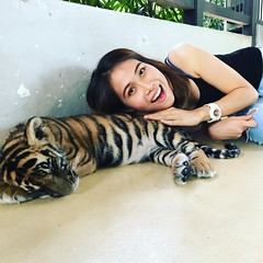 cuddle time (ChalidaTour) Tags: thailand thai asia asian girtl femme fils chica nina woman teen sweet cute beautiful pretty petite slender slim animal tiger baby portrait happyplanet asiafavorites