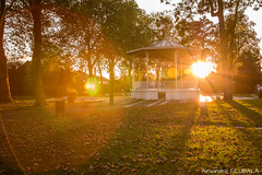 October sunset (Alexandre D_) Tags: canon eos 70d tripod vanguard panorama city bandstand colors color colorful couleur colour colours music kiosque france hautsdefrance nord pasdecalais bassinminier architecture history billymontigny orange outdoor outside nature sky clouds atmosphere cityscape town shadow sunset goldenhour parc park yellow sun sunnyday october fall autumn automne sigma1835mmf18hsmart nd1000 longexposure halo flare landscape