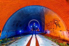 the yellow brick tunnel (XP LiGHTS °°° LiGHTPAINTING is MAGiK °°° Pho) Tags: xp lights belgique belgium lflp night photography photographie lumière luz nuit noche bleu blau blue azul orange oranga jaune yellow gelb amarillo color colors couleur couleurs infinitexposure longexposure long exposure maxime photos plus max pateau photosplus nikon d3s the brick tunnel