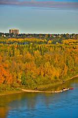 Leaf Peeping by Boat (evanlochem) Tags: north saskatchewan river valley park urban greenspace edmonton alberta canada trees fall foliage autumn leaves keillor point viewpoint city october lookout