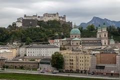 Fortress in Salzburg, Austria (Stuart Borrett) Tags: austria isem2019 salzburg castle dom church mountain sky city urban cathedral alps