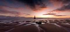 Sunrise at Rattray head (PeskyMesky) Tags: rattrayhead lighthouse aberdeenshire scotland sunrise sunset landscape longexposure panorama pano red sky beach sand water canon canon5d eos