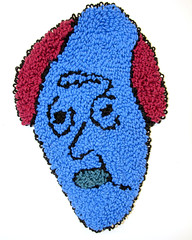 Edouard (H o l l y.) Tags: rughooking rug fine art tapestry loop hole face character caricature funny silly weird eyes drawing acrylic yarn