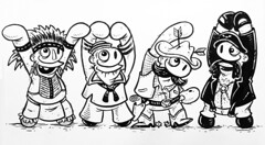 """The Village People"" (Question Josh? - SB/DSK) Tags: sketch sketches sketchbook doodle drawing art pen ink marker paper inktober josh cartoon characters design ymca indian biker cowboy sailor"