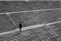 On the deserted steps (pascalcolin1) Tags: paris13 homme man marches steps lignes lines désert deserted photoderue streetview urbanarte noiretblanc blackandwhite photopascalcolin canon canon50mm 50mm