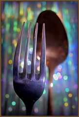 Opposites attract (kerwitcherwoo) Tags: spoon fork cutlery bokeh creativetabletopphotography silver copper macro smileonsaturday smile fun humour spoonandfork