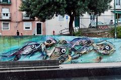 Street Art (Piedmont Fossil) Tags: lisbon portugal fish art street automobile parts car