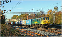 Beauty in the shadows..................... (Jason 87030) Tags: al6 beauty green shadows trent vally rugby warks cathiron cathy irons liner freightliner light october haloween trick treat color colour blaze leaf leaves bayley frame border lineside location class86 girl lass good 86501 yellow composition tracks trains