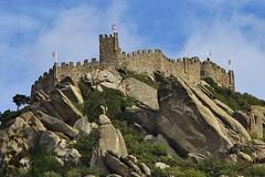 Castelo dos Mouros, Sintra, Portugal (LakeRidge Photography) Tags: castle fort hilltop fortress flag stone wall rock mountain sky cloud blue historic moorish moors lisbon portugal sintra park nacional pena portuguese medieval