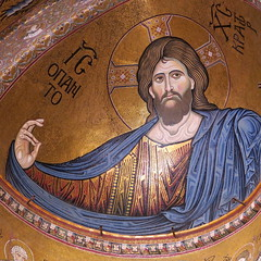 Sicily cathedral of Monreale: the mosaïc of Christ Pantocrator is the main image in the central apsis (Adfoto) Tags: bible bijbel mosaïc mozaiek italy italië sicily sicilië palermo church kerk
