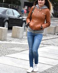Scheidemannstr (street) (thomasgorman1) Tags: woman walking street sidewalk leather fashion candid nikon streetshots streetphotos public berlin germany