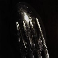 Spoon and Fork in Moonlight (clarkcg photography) Tags: spoonandfork smileonsaturday spoon fork man woman venus mars utensil silverware light lowlight low key lowkey scratch spooning