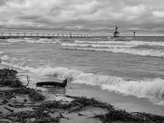 Tiscornia Beach, St. Joseph (mswan777) Tags: shore coast beach water waves wind sky cloud scenic seascape monochrome ansel black white apple iphone iphoneography mobile horizon lighthouse pier st joseph michigan