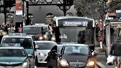 Bus in Traffic, Brighton. (ManOfYorkshire) Tags: route37 bristolestate compass bus enviro200 brighton station queensrd traffic jam queue 4303 yx68ujw honeybee alexanderdennis taxi cars