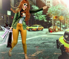 Taxi! (Isabella Rumsford) Tags: labella couture original mesh second life blazer top taxi pants green yellow street shopping sintiklia sandals