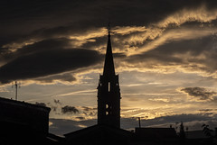 Église Saint-Jean-Baptiste (cliveg004) Tags: berriasetcasteljau rhonealpes églisesaintjeanbaptiste church spire rooftops france sunset ardeche sky clouds nikon d7500 tamron1024