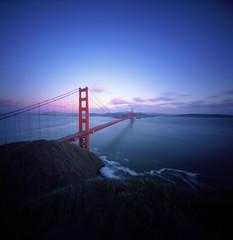 Golden Gate view (Zeb Andrews) Tags: kodakektar realitysosubtle6x6dualpinhole sanfrancisco california goldengatebridge bridge lensless sunset dusk film mediumformat zaahphoto bridges