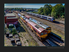 Freight traction at Masbrough Station including blue DRS 20s move from Crewe to York - 4059/063 (Views in Camera) Tags: masbroughstation oldroad northmidlandrailway greatbritainrailfreight gbrf class66 shed 66751 inspirationdeliveredhitachiraileurope 4z81 masbroughnwterminaltofelixstowenorth dbc dbshenkercargo 66109 teesportexpress pdports 66030 ewslivery colasrail class60 60002 tempest 0f54 belmontdownyardtototontmd drs directrailservices class20 20303 maxjoule19581999 20302 0z20 crewegrestybridgetoyorkparcelssidings northernrail class170 turbostar 170457 1w45 sheffieldtobridlington crosscountrytrains class221 voyager 1v56 glasgowcentraltoplymouth signals0423 signals0425 signals0415 signals0421 signals0406 templeboroughbiomass nw newellandwrightcontainerservices holmeswestsidings midlandironworks masbroughgoodsloop masbroughstationsouthjunction coronationbridge