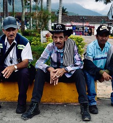 El tres amigos (stewardsonjp1) Tags: hat cowboy men spanish altitude town streetportrait streetphotography portrait latinamerica andes colombia