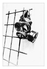 Time to Breathe (Thomas Listl) Tags: thomaslistl blackandwhite biancoenegro noiretblanc monochrome contrast highcontrast mask gasmask lines grid copenhagen cph denmark